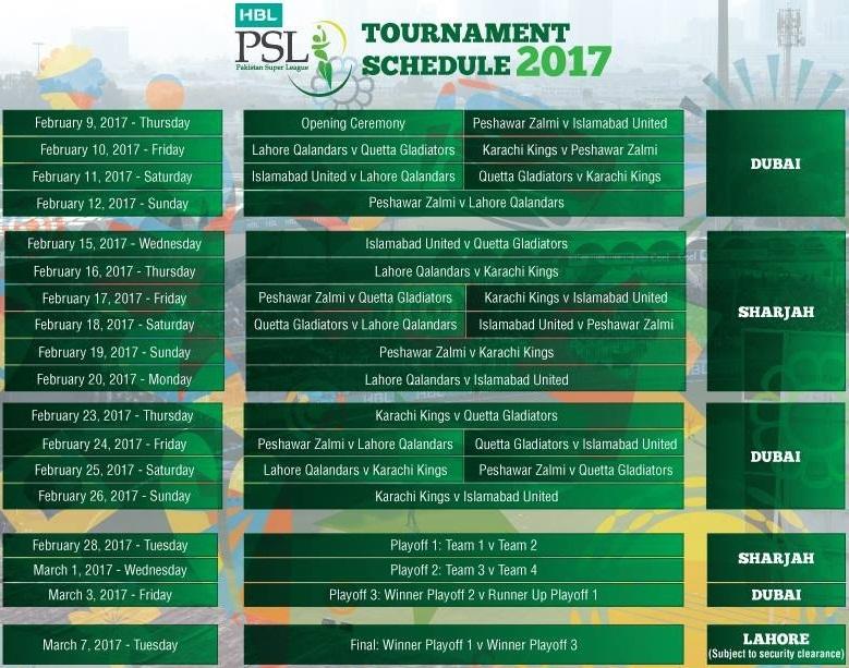 2017 PSL Schedule
