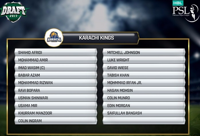 Karachi Kings 2018 Squad and Team Players List