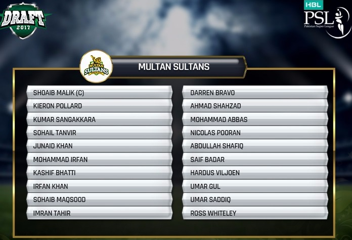 Multan Sultans 2018 Squad and Team Players List