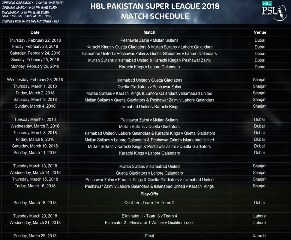 Pakistan Super League 2018 Schedule and Time Table (PSL 2018)