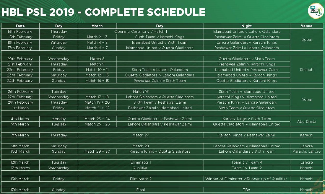 Pakistan Super League 2019 Schedule and Time Table PSL-4